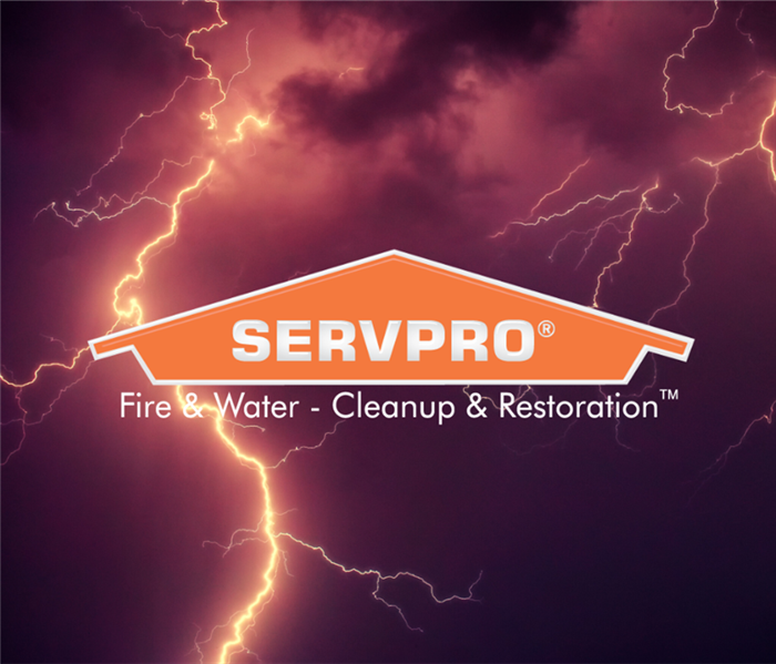 SERVPRO logo with lightening in background